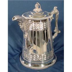 Large Ornate Silver Plate Pitcher, Ca. 1863
