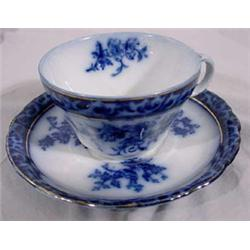 "6 Flow Blue ""Touraine England"" Cup & Saucer Set"