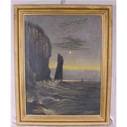 """O/C Painting Signed """"I.S. Bates 1888"""" entitled """"Splitrock"""""""