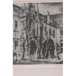 Artist Signed Engraving (Illegible) of Building Exterior