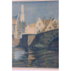 Original Aquatint Print of City Scene