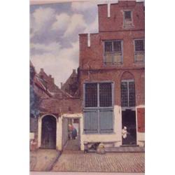 Colored Print of Dutch Street Scene, Ca. 1880
