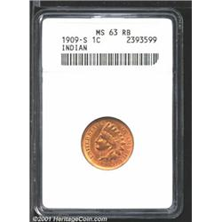1909-S 1C MS63 Red and Brown ANACS.