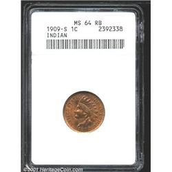 1909-S 1C MS64 Red and Brown ANACS.
