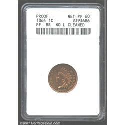 1864 1C Bronze--Cleaned--ANACS.