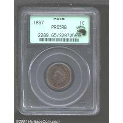 1867 1C PR65 Red and Brown PCGS.