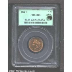 1871 1C PR65 Red and Brown PCGS.