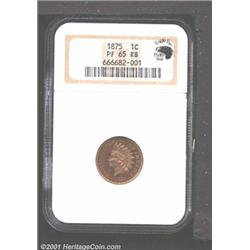 1875 1C PR65 Red and Brown NGC.