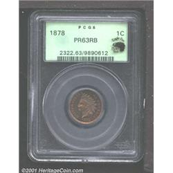 1878 1C PR63 Red and Brown PCGS.