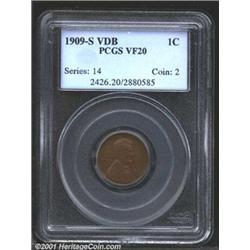 1909-S VDB 1C VF20 PCGS.