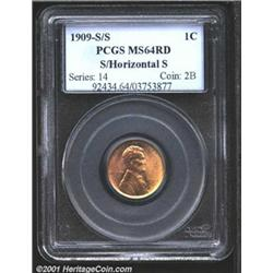 1909-S 1C S Over Horizontal S MS64 Red PCGS.