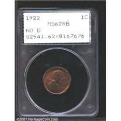 1922 No D 1C Strong Reverse MS62 Red and Brown PCGS.