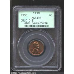 1955/55 1C Doubled Die MS64 Red and Brown PCGS.