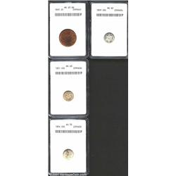 1865 2C Two Cent Piece MS63 Red and Brown ANACS, mostly lustrous with mottled glossy-brown toning an