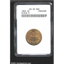 1865 2C MS63 Red ANACS.