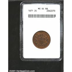 1871 2C MS64 Red and Brown ANACS.