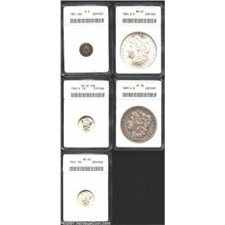 1851 3CS Good 4 ANACS, the upper obverse legend worn smooth; 1940-S 10C MS62 Full Bands ANACS, a nic