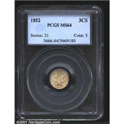 1852 3CS MS64 PCGS.
