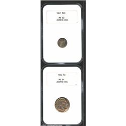 1861 3CS Three Cent Silver MS62 NGC, a moderate coating of steel-blue toning covers the subdued surf