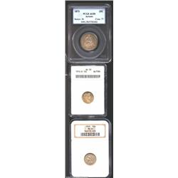 1868 3CN Three Cent Nickel MS64 NGC, both sides are evenly patinated in golden-gray shades with few