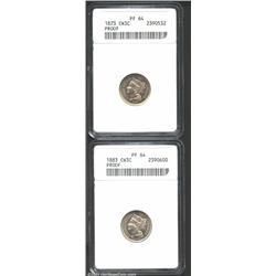 1873 3CN Closed 3 PR64 ANACS, medium intensity olive-gray patina confirms the originality of this sh