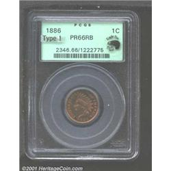 1886 1C Type One PR66 Red and Brown PCGS.
