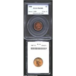 1888 1C Cent PR63 Red and Brown PCGS, nicely reflective fields, but a little spotty for a higher gra