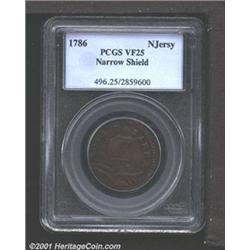 1786 COPPER New Jersey Copper, Narrow Shield VF25 PCGS.