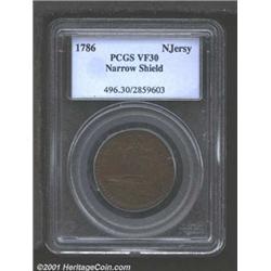 1786 COPPER New Jersey Copper, Narrow Shield VF30 PCGS.