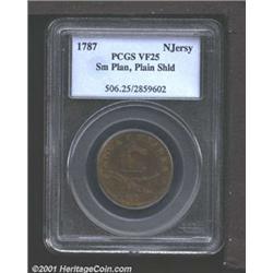 1787 COPPER New Jersey Copper, Small Planchet VF25 PCGS.