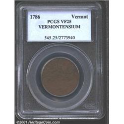 1786 COPPER Vermont Copper, VERMONTENSIUM VF25 PCGS.