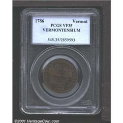 1786 COPPER Vermont Copper, VERMONTENSIUM VF35 PCGS.