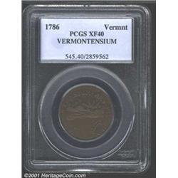 1786 COPPER Vermont Copper, VERMONTENSIUM XF40 PCGS.