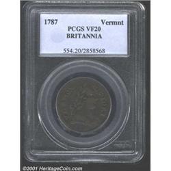 1787 COPPER Vermont Copper, BRITANNIA VF20 PCGS.