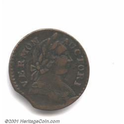 1787 COPPER Vermont Copper, BRITANNIA VF30 Clipped Planchet, Corroded Uncertified.