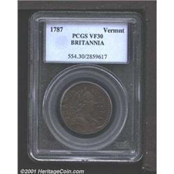 1787 COPPER Vermont Copper, BRITANNIA VF30 PCGS.