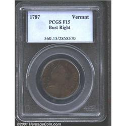 1787 COPPER Vermont Copper, Bust Right Fine 15 PCGS.