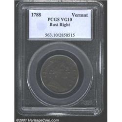 1788 COPPER Vermont Copper, Bust Right VG10 PCGS.