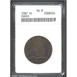 1787 1C Fugio Cent, STATES UNITED, Cinquefoils VG8 ANACS.
