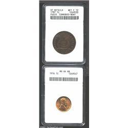 1787 1C Fugio Cent, STATES UNITED, Cinquefoils--Corroded, Bent--ANACS, VF Details, Net Fine 12, dark