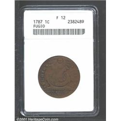 1787 1C Fugio Cent, STATES UNITED, Cinquefoils Fine 12 ANACS.