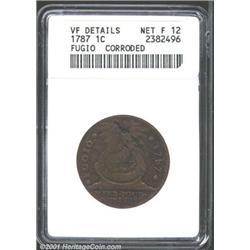 1787 1C Fugio Cent, STATES UNITED, Cinquefoils--Corroded--ANACS.
