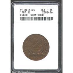 1787 1C Fugio Cent, STATES UNITED, Cinquefoils--Scratched--ANACS.
