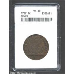 1787 1C Fugio Cent, STATES UNITED, Cinquefoils VF30 ANACS.