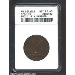 1787 1C Fugio Cent, STATES UNITED, Cinquefoils--Rim Damaged--ANACS.