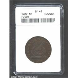 1787 1C Fugio Cent, STATES UNITED, Cinquefoils XF45 ANACS.