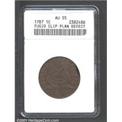 1787 1C Fugio Cent, STATES UNITED, Cinquefoils--Clipped, Planchet Defect--AU55 ANACS.