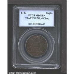 1787 1C Fugio Cent, STATES UNITED, Cinquefoils MS62 Brown PCGS.