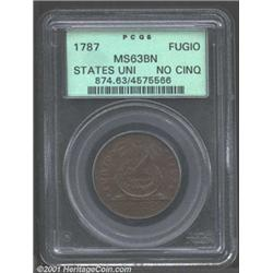 1787 1C Fugio Cent, STATES UNITED, Cinquefoils MS63 Brown PCGS.