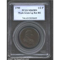 1795 1/2P Washington Grate Halfpenny, Large Buttons, Reeded Edge MS63 Brown PCGS.